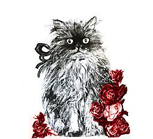 KITTEN WITH RED ROSES ,Black and White Photographic Print