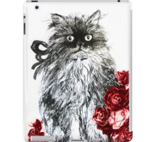 KITTEN WITH RED ROSES ,Black and White iPad Case/Skin