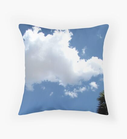 Puffy cloud and blue sky Throw Pillow