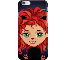 Redhead girl in cat costume iPhone Case/Skin