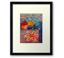 Vintage Snack time, Apples and Water, watercolor Framed Print