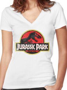 Jurassic Park Logo Grunge Women's Fitted V-Neck T-Shirt