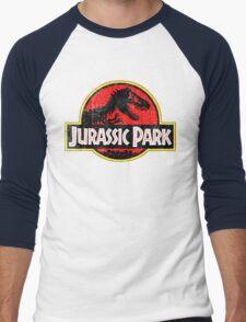 Jurassic Park Logo Grunge Men's Baseball ¾ T-Shirt