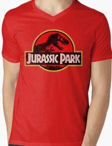 Jurassic Park Logo Grunge Mens V-Neck T-Shirt