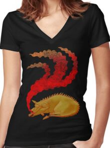 Snoring Dragon Women's Fitted V-Neck T-Shirt