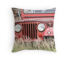 Stranded Red Car Throw Pillow