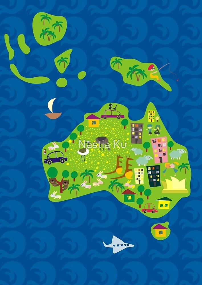 Cartoon Map of Australia by Anastasiia Kucherenko