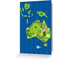 Cartoon Map of Australia Greeting Card