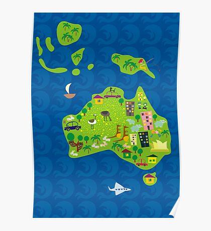 Cartoon Map of Australia Poster