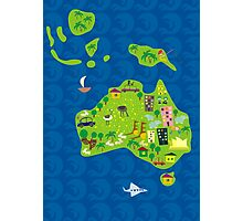 Cartoon Map of Australia Photographic Print