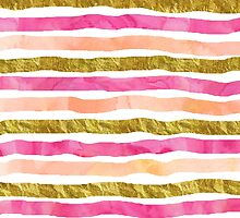 Watercolor hand drawn peach pink gold by dreamingmind
