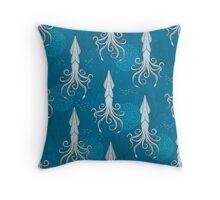 Deep under the Sea Blue Cephalopods Octopus  Throw Pillow