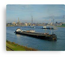 Rhine at Krefeld Uerdingen in early 1980s, Germany. Canvas Print