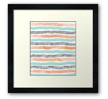 watercolor hand drawn stripes coral blue grey Framed Print