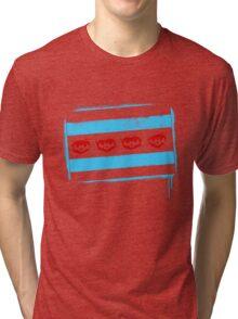 Chicago Flag: Baseball-Full Color Tri-blend T-Shirt