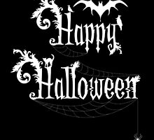 Happy Halloween Rococo Typography Greeting Card ~ Black & White Version  by Sam Stormborn Ormandy