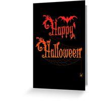 Happy Halloween Rococo Typography Greeting Card ~ Orange Version Greeting Card