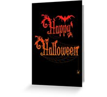 Happy Halloween Rococo Typography Greeting Card ~ Orange Version Greeting Card