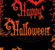 Happy Halloween Rococo Typography Greeting Card ~ Extra Bats Orange Version by Sam Stormborn Ormandy