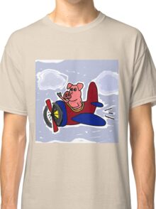 Funny Pig Flying in Red and Blue Airplane Classic T-Shirt