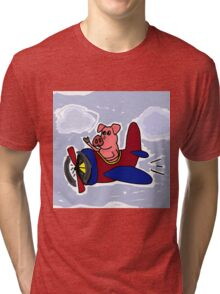 Funny Pig Flying in Red and Blue Airplane Tri-blend T-Shirt