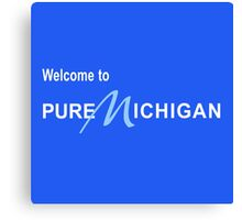 Welcome to Pure Michigan Road Sign Canvas Print
