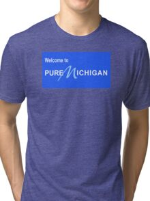 Welcome to Pure Michigan Road Sign Tri-blend T-Shirt