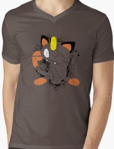 Meowth Splatter Mens V-Neck T-Shirt