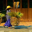 Brush seller, Chiang Mai, Thailand by bulljup