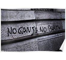 no ganja, no party Poster