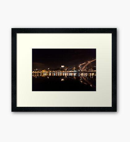 Night at Oporto's Douro Riverside, Portugal Framed Print