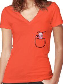 Pocket Courage Dog. Women's Fitted V-Neck T-Shirt