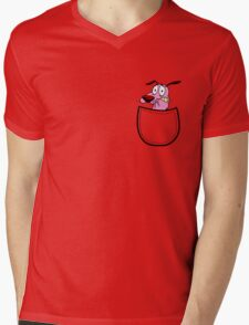Pocket Courage Dog. Mens V-Neck T-Shirt