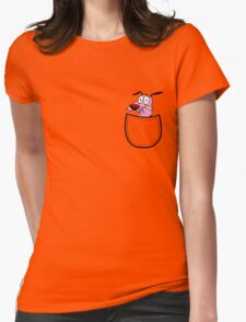 Pocket Courage Dog. Womens Fitted T-Shirt