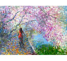 Blossom Alley Landscape woman on a bike Impressionistic Painting Svetlana Novikova Photographic Print