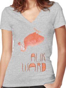 Awkward Orange Auk  Women's Fitted V-Neck T-Shirt