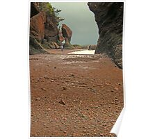 Strolling on the Ocean Floor at Hopewell Rocks Poster