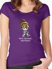 Martial Arts/Karate Girl - Front punch (gray font) Women's Fitted Scoop T-Shirt
