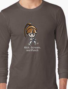 Martial Arts/Karate Girl - Front punch (gray font) Long Sleeve T-Shirt