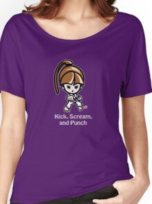 Martial Arts/Karate Girl - Front punch (gray font) Women's Relaxed Fit T-Shirt
