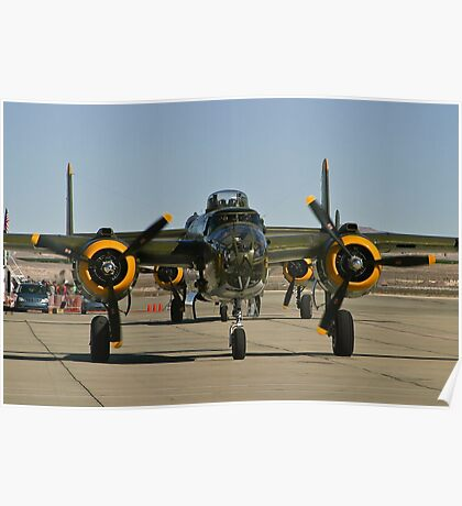 Tight shot of a B-25 Mitchell. Poster