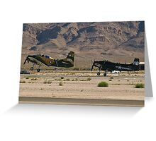 Pair of A-1 Skyraiders take off. Greeting Card