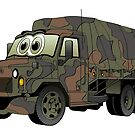 Military Transport Truck Cartoon by Graphxpro