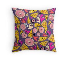 Pizza Donut Monsters Throw Pillow