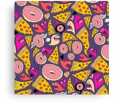 Pizza Donut Monsters Canvas Print