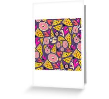Pizza Donut Monsters Greeting Card