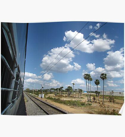 Railway track and puffy white clouds Poster