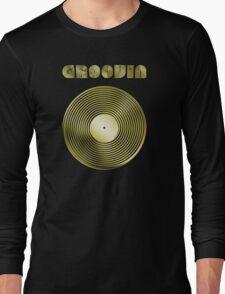 Groovin - Vinyl LP Record & Text - Metallic - Gold T-Shirt