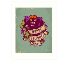 Monster and old ribbon for Halloween Art Print