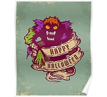 Monster and old ribbon for Halloween Poster